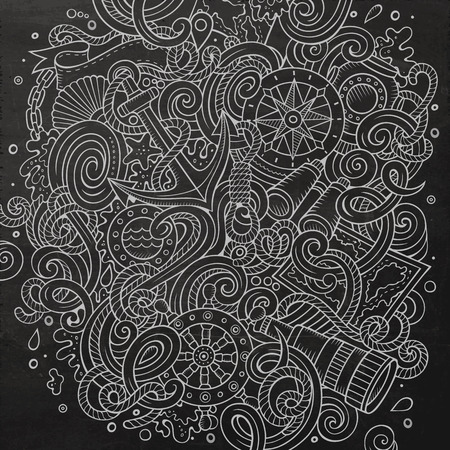 paddle wheel: Cartoon cute doodles hand drawn nautical illustration. Line art detailed, with lots of objects background. Funny vector artwork. Chalkboard picture with marine theme items Illustration
