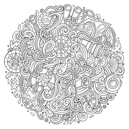 Garabatos De Dibujos Animados Lindo Dibujado A Mano Ilustración ...