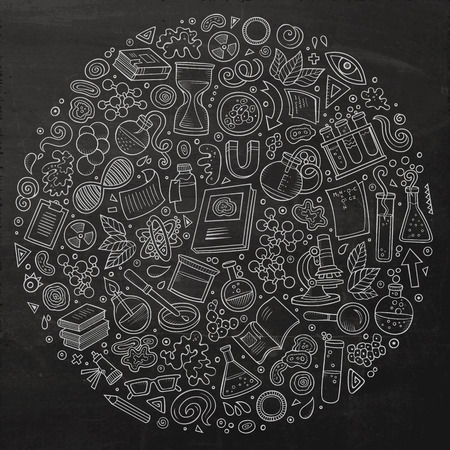 science symbols: Chalkboard vector hand drawn set of Science cartoon doodle objects, symbols and items. Round composition