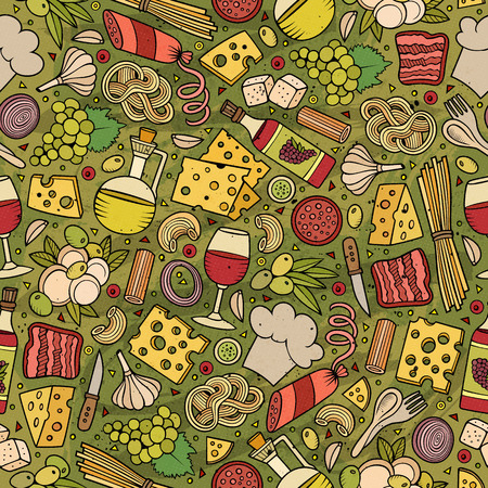 Cartoon cute hand drawn Italian food seamless pattern. Colorful with lots of objects background. Endless funny vector illustration.