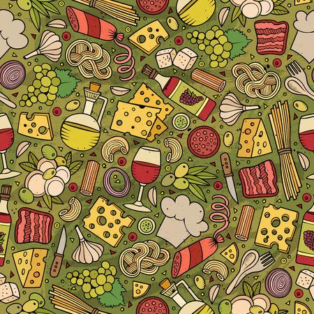 comida italiana: Dibujos animados dibujados mano linda patrón transparente comida italiana. Colorido con una gran cantidad de objetos de fondo. ilustración vectorial divertido sin fin.