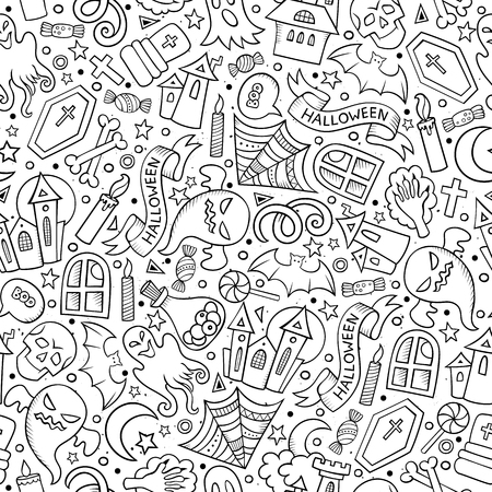 contours: Cartoon cute hand drawn Halloween seamless pattern. Line art detailed, with lots of objects background. Endless funny vector illustration. Sketchy holiday backdrop. Illustration