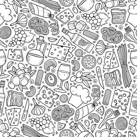 만화 귀여운 손으로 그린 이탈리아 음식 원활한 패턴입니다. 많은 예술적 배경을 가진 라인 아트. 끝없는 재미 벡터 일러스트 레이 션. 일러스트
