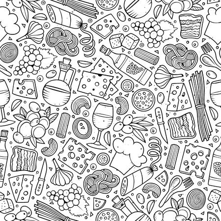 Cartoon cute hand drawn Italian food seamless pattern. Line art with lots of objects background. Endless funny vector illustration. Stock Illustratie