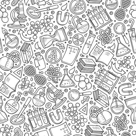 Cartoon niedliche Hand Wissenschaft nahtlose Muster gezeichnet. Line art ausführlich, mit vielen Objekten Hintergrund. Endlose lustige Vektor-Illustration. Flüchtiger wissenschaftlichen Hintergrund.