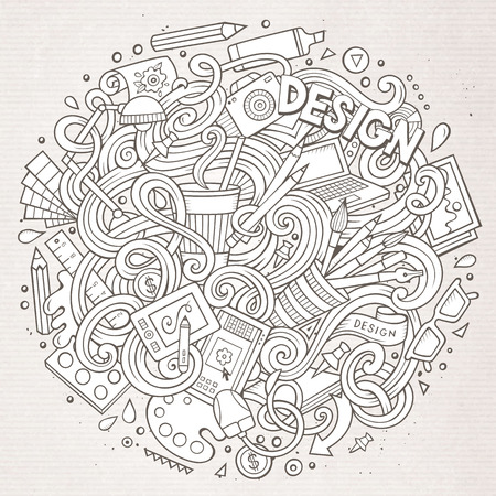 cartoon work: Cartoon cute doodles hand drawn Design illustration. Line art detailed, with lots of objects background. Funny vector artwork. Sketchy picture with Artistic theme