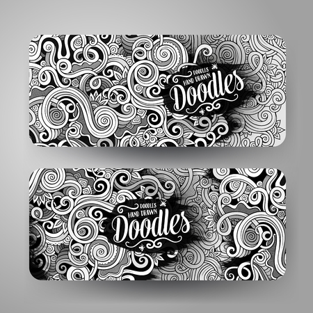 Cartoon cute line art vector hand drawn doodles curls, swirls corporate identity. 2 horizontal banners design. Templates set