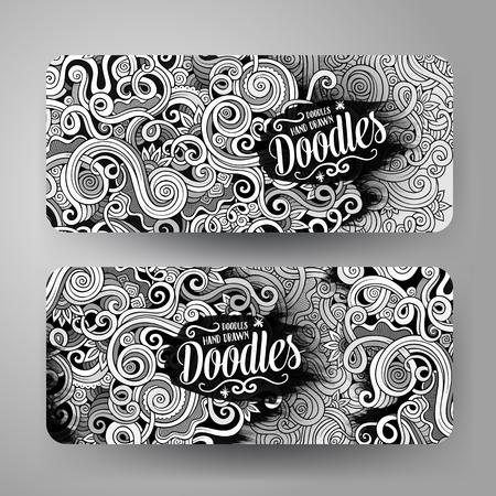 Cartoon cute line art vector hand drawn doodles curls, swirls corporate identity. 2 horizontal banners design. Templates set Vetores
