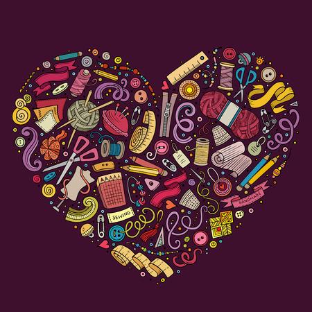 Kleurrijke Vector hand getrokken set van Handmade cartoon doodle voorwerpen, symbolen en artikelen. Hart vorm samenstelling