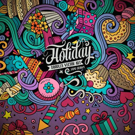 kid vector: garabatos lindo dibujo animado dibujado a mano diseño de las vacaciones marco. Colorido detallado, con una gran cantidad de objetos de fondo. Ilustración divertida del vector. Brillante colores frontera con artículos del tema del cumpleaños