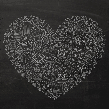 Chalkboard vector hand drawn set of Ice cream cartoon doodle objects, symbols and items. Heart form composition