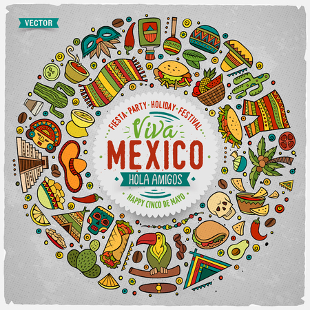 mexicans: Colorful vector hand drawn set of Latin American cartoon doodle objects, symbols and items. Round frame composition Illustration