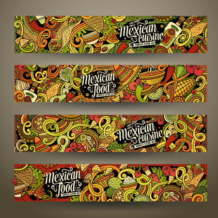 latin american: Cartoon colorful vector hand drawn doodles mexican cuisine corporate identity. 4 Horizontal banners design. Templates set Illustration