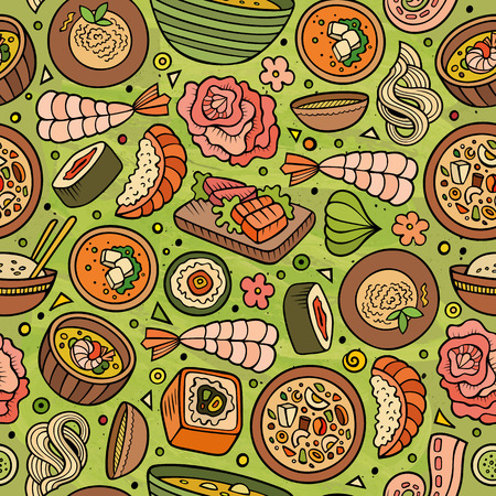 japanese cuisine: Cartoon cute hand drawn Japan food seamless pattern. Colorful with lots of objects background. Endless funny vector illustration. Bright colors backdrop with japanese cuisine symbols and items