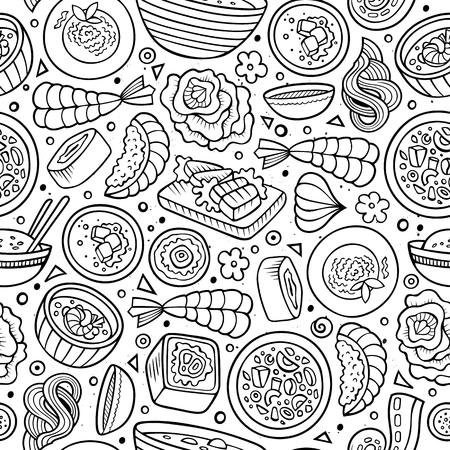 japanese cuisine: Cartoon cute hand drawn Japan food seamless pattern. Line art with lots of objects background. Endless funny vector illustration. Sketchy backdrop with japanese cuisine symbols and items