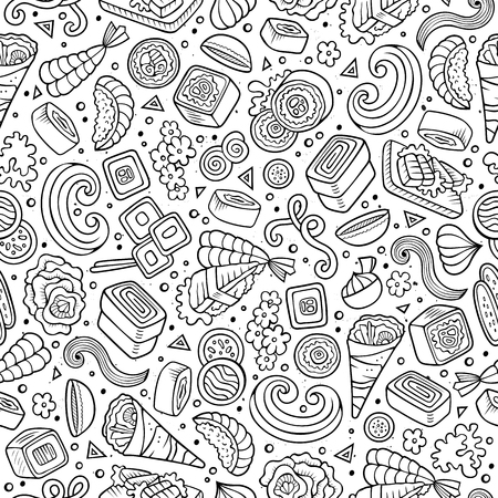 prawn: Cartoon cute hand drawn Japan food seamless pattern. Line art with lots of objects background. Endless funny vector illustration. Sketchy backdrop with japanese cuisine symbols and items