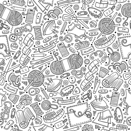 profession: Cartoon cute hand drawn Handmade seamless pattern. Line art detailed, with lots of objects background. Endless funny vector illustration Illustration