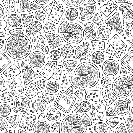 pizza ingredients: Cartoon cute hand drawn Pizza seamless pattern. Line art with lots of objects background. Endless funny vector illustration. Sketch backdrop with fastfood symbols and items