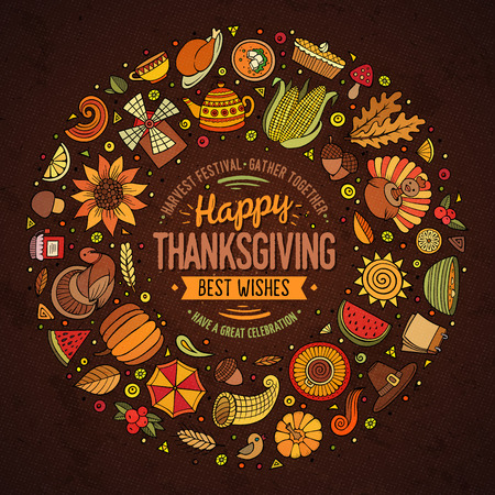 Colorful vector hand drawn set of Thanksgiving cartoon doodle objects, symbols and items. Round frame composition