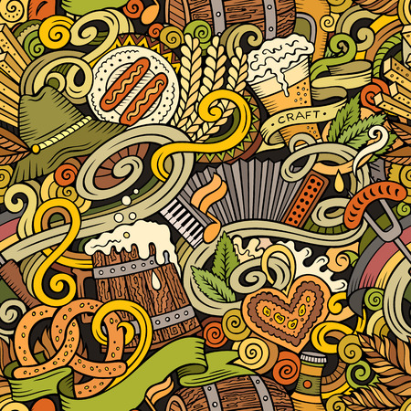 barrel tile: Cartoon cute doodles hand drawn Octoberfest seamless pattern. Colorful detailed, with lots of objects background. Endless funny vector illustration. Bright colors backdrop with beer symbols and items