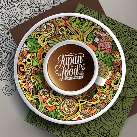 bezel: Vector illustration with a Cup of coffee and hand drawn Japan food doodles on a saucer, on paper and on the background