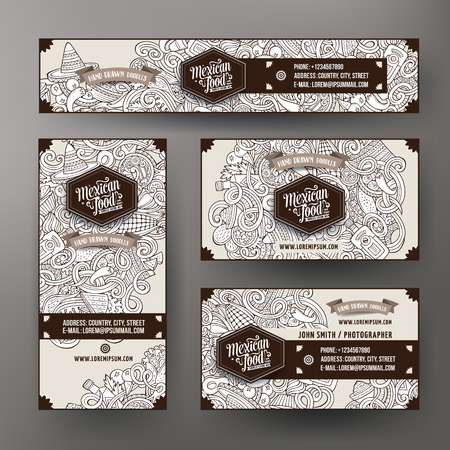 latinoamerica: Cartoon cute line art vector hand drawn doodles mexican food corporate identity set. Templates design of banners, id cards, flyer