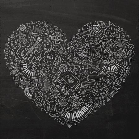 instruments de musique: Chalkboard vecteur Hand Drawn ensemble de musique objets de griffonnage de bande dessinée, des symboles et des objets. composition sous forme de coeur