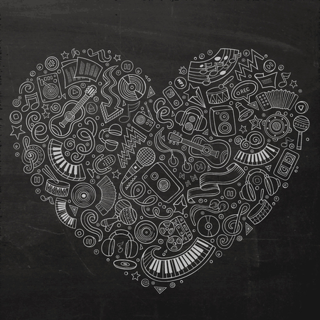 instrumentos musicales: Chalkboard vector hand drawn set of Music cartoon doodle objects, symbols and items. Heart form composition Vectores
