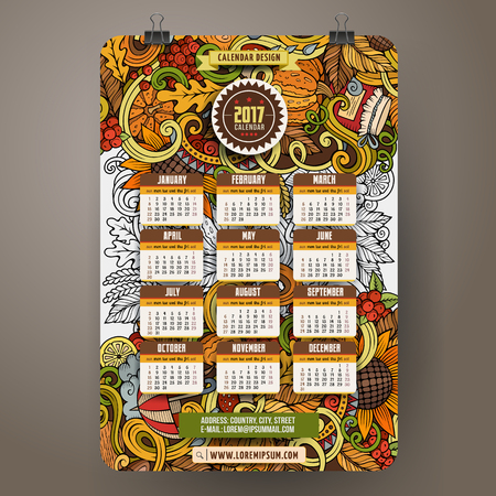 Cartoon colorful hand drawn Autumn doodles 2017 year calendar template. English, Sunday start. Very detailed, with lots of objects illustration. Funny vector artwork Illustration