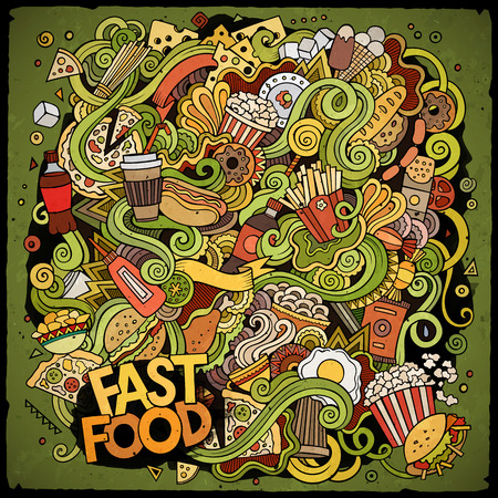 steak plate: Cartoon cute doodles hand drawn Fastfood illustration. Colorful detailed, with lots of objects background. Funny vector artwork. Bright colors picture with fast food theme items