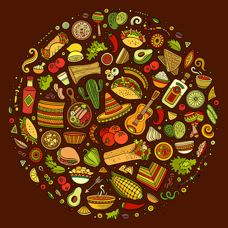 Colorful vector hand drawn set of Mexican food cartoon doodle objects, symbols and items. Round composition