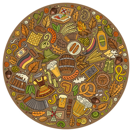 beer fest: Colorful vector hand drawn set of Beer fest cartoon doodle objects, symbols and items. Round form composition Illustration