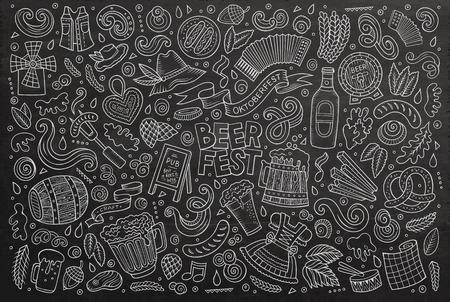 Chalkboard vector hand drawn doodle cartoon set of Oktoberfest theme items, objects and symbols Illustration