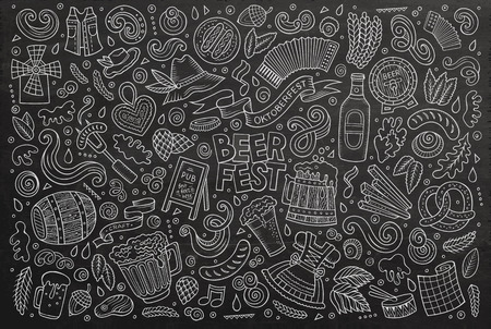 Chalkboard vector hand drawn doodle cartoon set of Oktoberfest theme items, objects and symbols Vectores