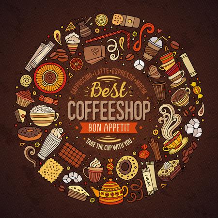 Bunte Vektor Hand gezeichnet Set von Kaffee Cartoon-Doodle Objekte, Symbole und Elemente. Runder Rahmen Zusammensetzung Standard-Bild - 63156428