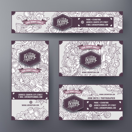 hair brush: Corporate Identity vector templates set design with doodles hand drawn musical theme. Line art banner, id cards, flayer design. Templates set