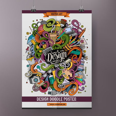 Cartoon colorful hand drawn doodles Design poster template. Very detailed, with lots of objects illustration. Funny vector artwork. Corporate identity design.