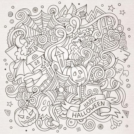 garabatos lindo dibujo animado dibujado a mano ilustración de Halloween. dibujos detallados, con una gran cantidad de objetos de fondo. obra divertida del vector. foto bosquejado con artículos del tema del día de fiesta.