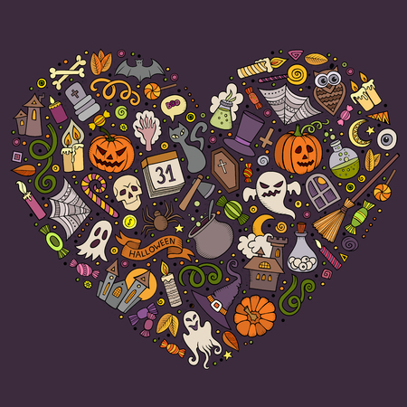 set form: Colorful vector hand drawn set of Halloween cartoon doodle objects, symbols and items. Heart form composition Illustration