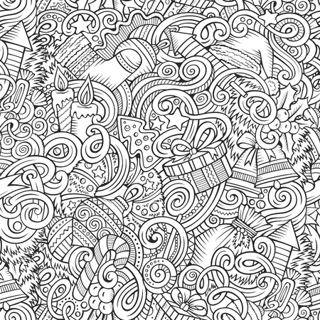 Cartoon cute doodles New Year seamless pattern. Line art detailed, with lots of objects background. Endless vector illustration. Contour backdrop with Christmas symbols and items