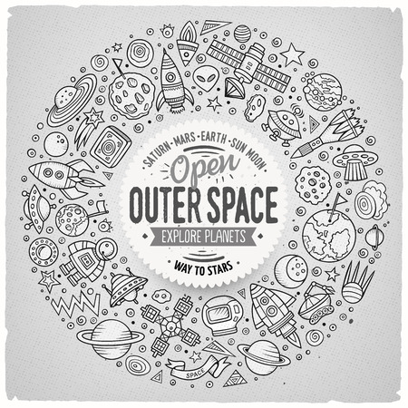 space station: Line art vector hand drawn set of space cartoon doodle objects, symbols and items. Round frame composition