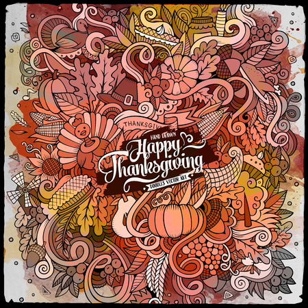 Cartoon cute doodles hand drawn Thanksgiving illustration. Watercolor detailed, with lots of objects background. Funny vector artwork