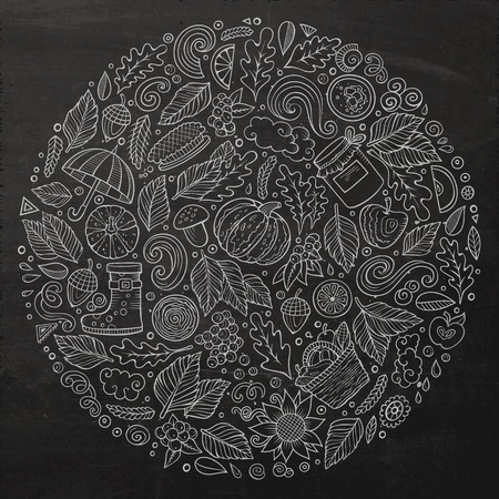 cranberry illustration: Chalkboard vector hand drawn set of Autumn cartoon doodle objects, symbols and items. Round composition