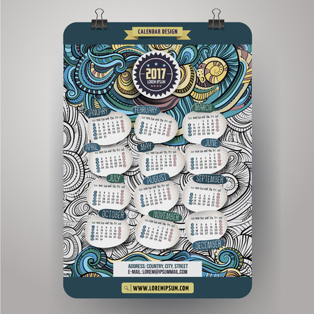 decorative objects: Cartoon colorful hand drawn doodlesabstract decorative 2017 year calendar template. English, Sunday start. Very detailed, with lots of objects illustration. Funny vector artwork. Illustration