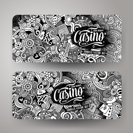 roulette layout: Cartoon cute vector hand drawn doodles casino corporate identity. 2 Horizontal banners design. Templates set