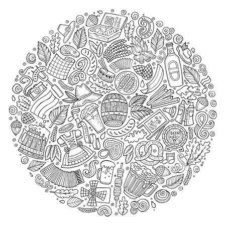 Línea arte del vector dibujado a mano conjunto de Beer Fest bosquejo de dibujos animados objetos, símbolos y elementos. Composición forma redonda Foto de archivo - 63377810