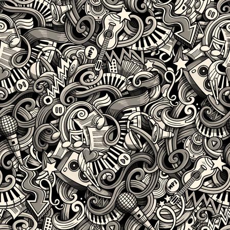 endlos: Cartoon niedlich Kritzeleien Hand Musical nahtlose Muster gezeichnet. Monochrome detailliert, mit vielen Objekten Hintergrund. Endlose lustige Vektor-Illustration. Hintergrund mit Musik Symbole und Elemente Illustration