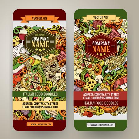 italian food: Cartoon cute vector hand drawn doodles italian food corporate identity. 2 Vertical colorful banners design. Templates set