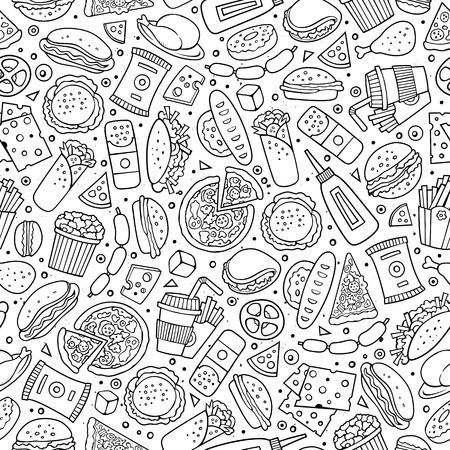 Cartoon niedliche Hand Fast Food nahtlose Muster gezeichnet. Linie Kunst mit vielen Objekten Hintergrund. Endlose lustige Vektor-Illustration. Sketch-Kulisse mit Fast-Food-Symbole und Elemente