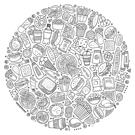 ham sandwich: Line art vector hand drawn set of Fast food cartoon doodle objects, symbols and items. Round composition